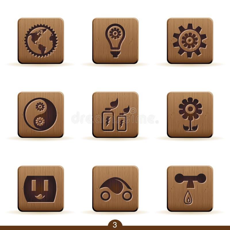 Ícones detalhados da ecologia ilustração royalty free