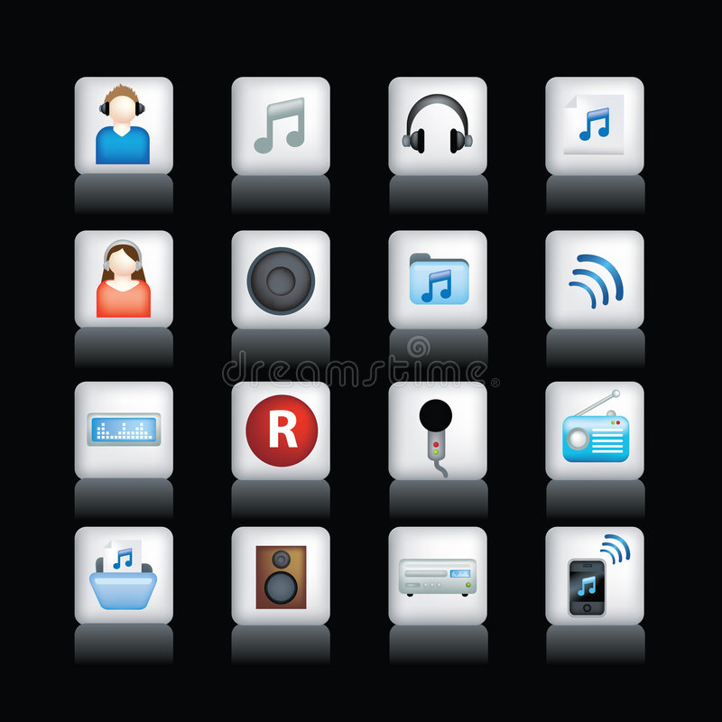 Ícones detalhados da música no preto ilustração royalty free