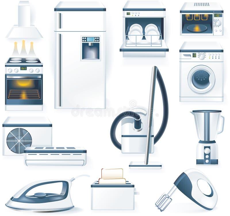 Ícones detalhados dos aparelhos electrodomésticos do vetor ilustração royalty free