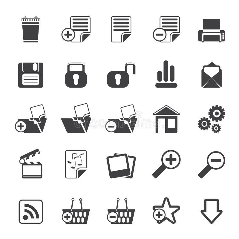Ícones detalhados realísticos simples do Internet da silhueta 25 ilustração royalty free