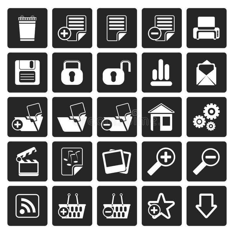 Ícones detalhados realísticos simples do Internet do preto 25 ilustração do vetor