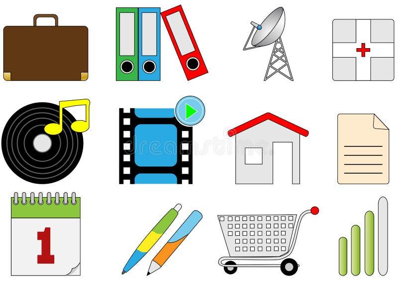 Ícones diferentes ilustração royalty free