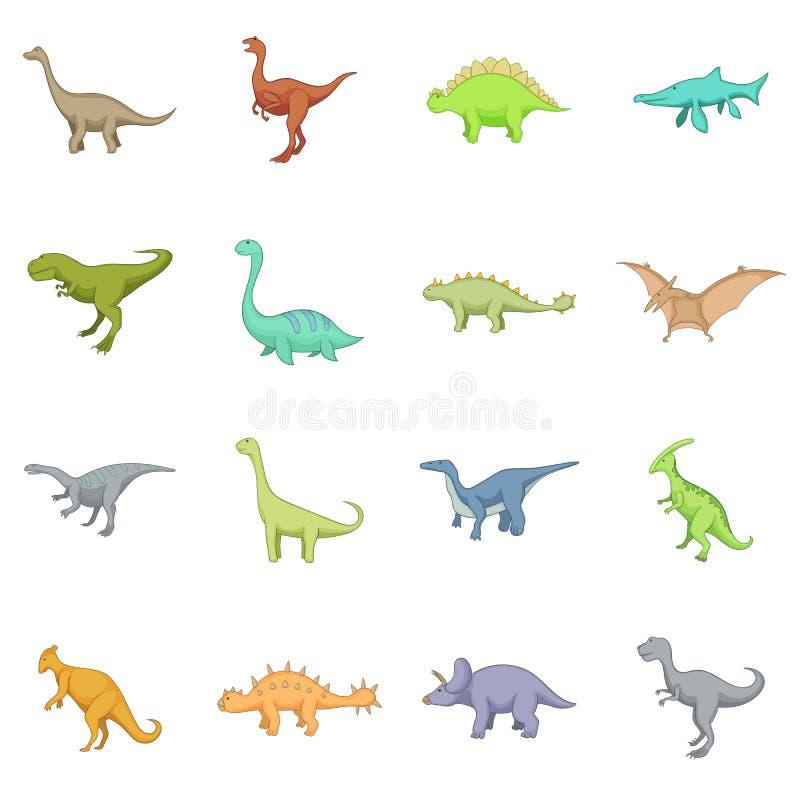 Ícones diferentes ajustados, estilo dos dinossauros dos desenhos animados ilustração stock