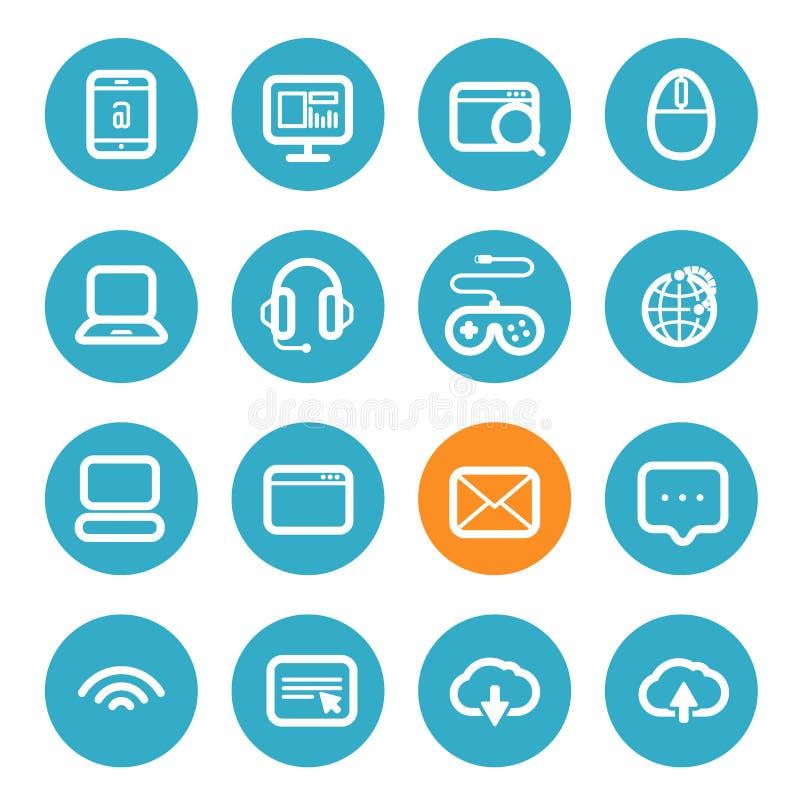 Ícones diferentes da aplicação ajustados com cantos arredondados ilustração do vetor