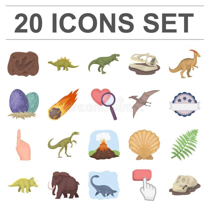 Ícones diferentes dos desenhos animados dos dinossauros na coleção do grupo para o projeto Ilustração animal pré-histórica da Web ilustração royalty free
