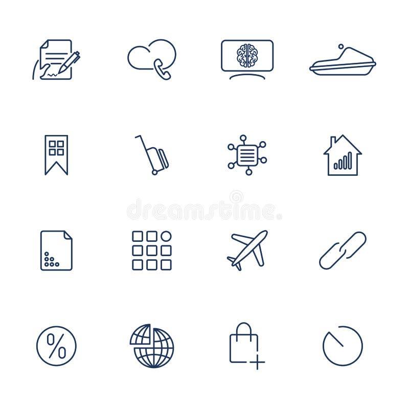 16 ícones diferentes para o app, móbil, locais ilustração royalty free