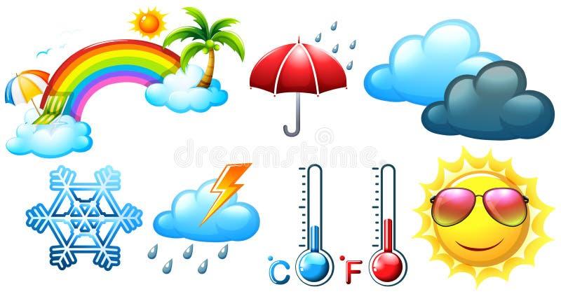 Ícones diferentes para o tempo e o clima ilustração do vetor