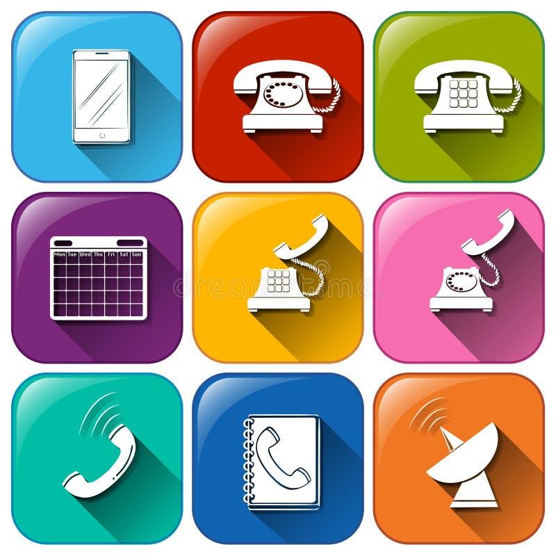 Ícones diferentes para uma comunicação ilustração royalty free