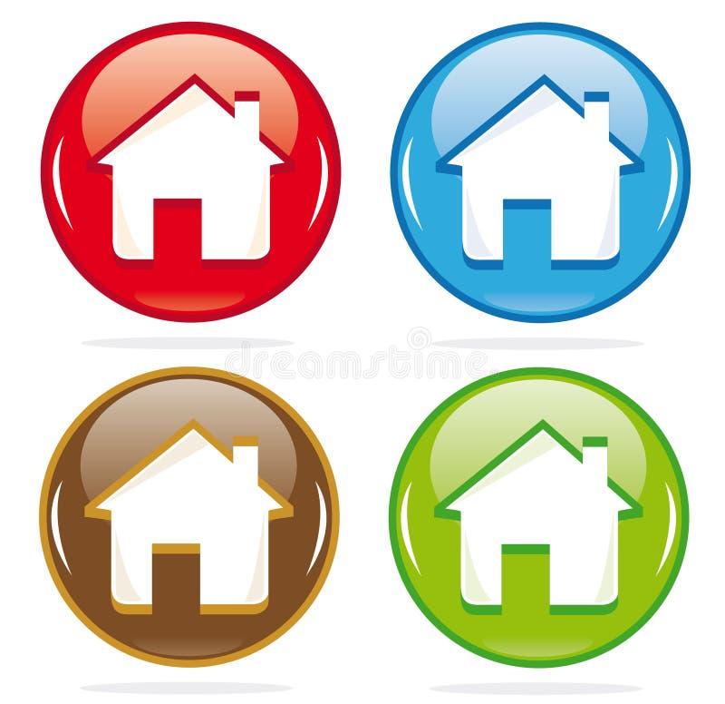 Ícones dimensionais da casa ilustração royalty free
