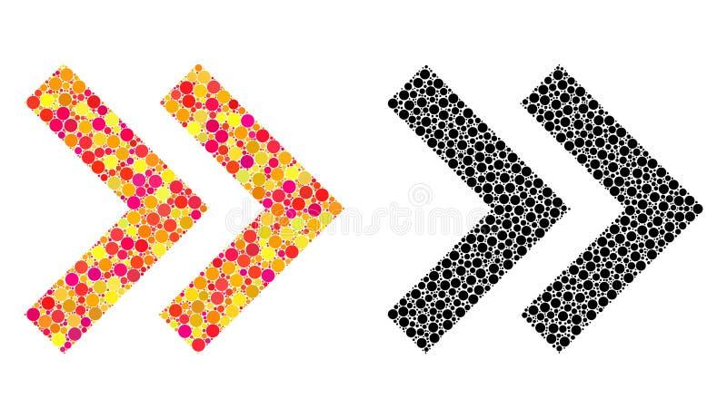 Ícones direitos do mosaico do deslocamento do pixel ilustração do vetor