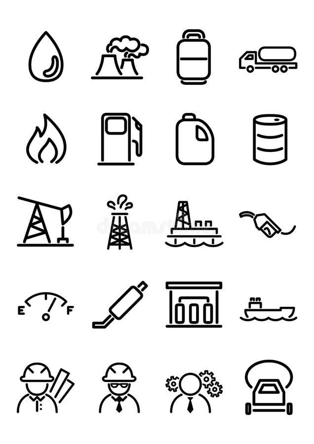 Ícones do óleo & do gás ilustração do vetor