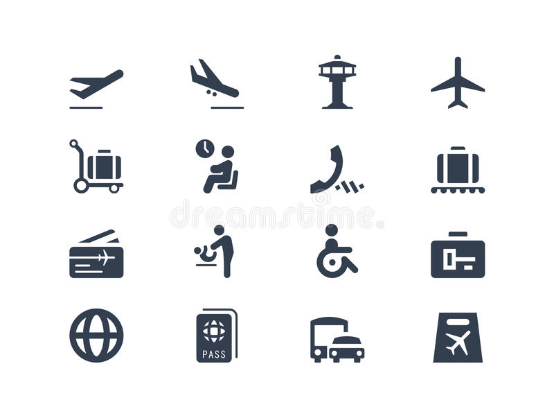 Ícones do aeroporto ilustração stock