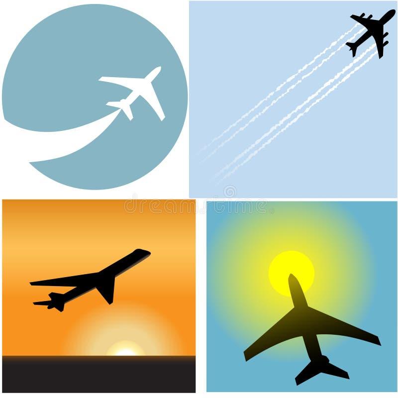 Ícones do aeroporto do avião comercial do curso da linha aérea ilustração royalty free