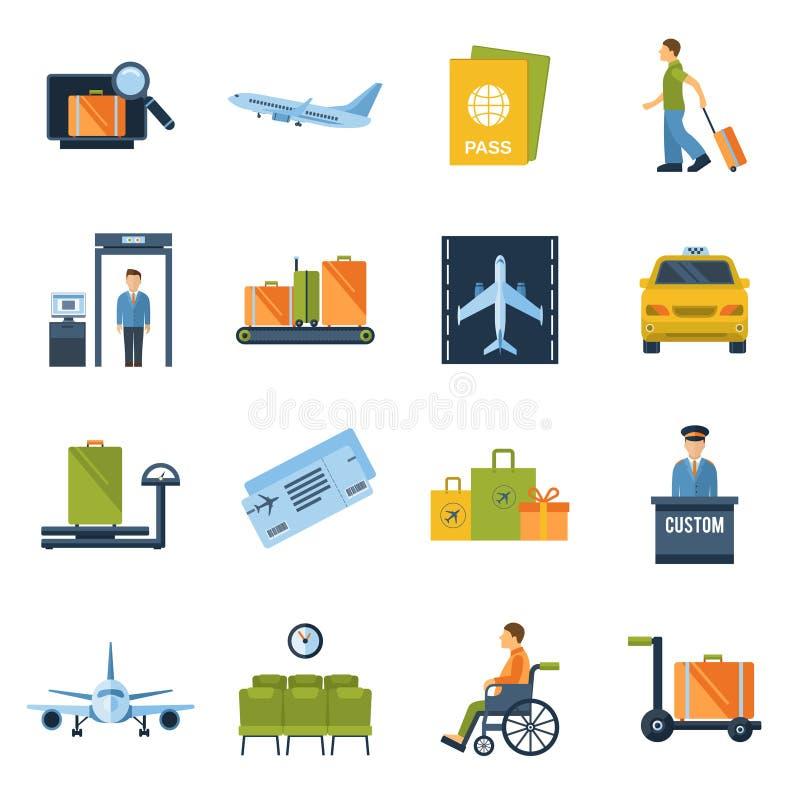 Ícones do aeroporto lisos ilustração do vetor