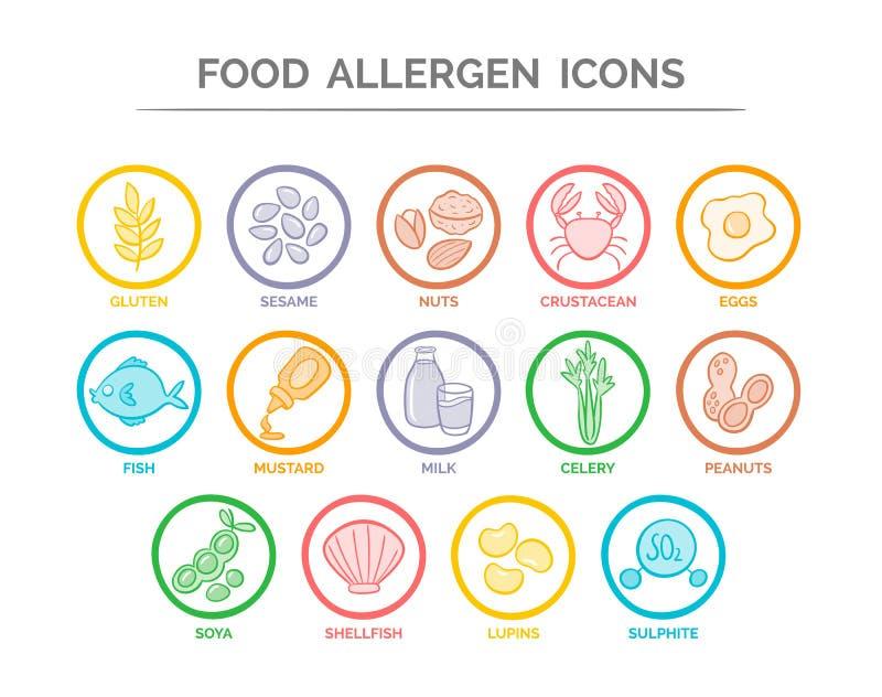 Ícones do alérgeno do alimento ajustados ilustração do vetor