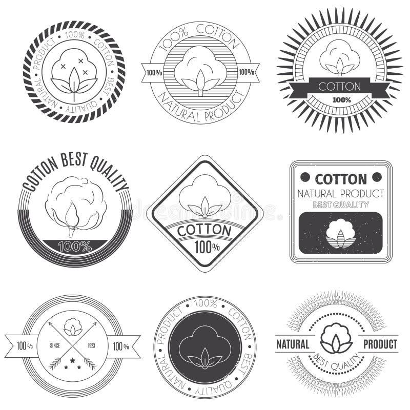 Ícones do algodão ajustados ilustração do vetor