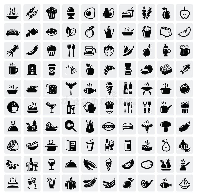 Ícones do alimento ajustados ilustração do vetor