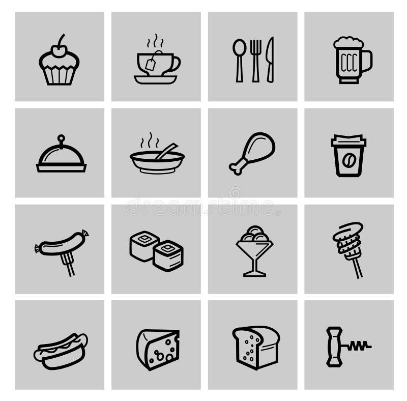 Ícones do alimento ajustados ilustração stock