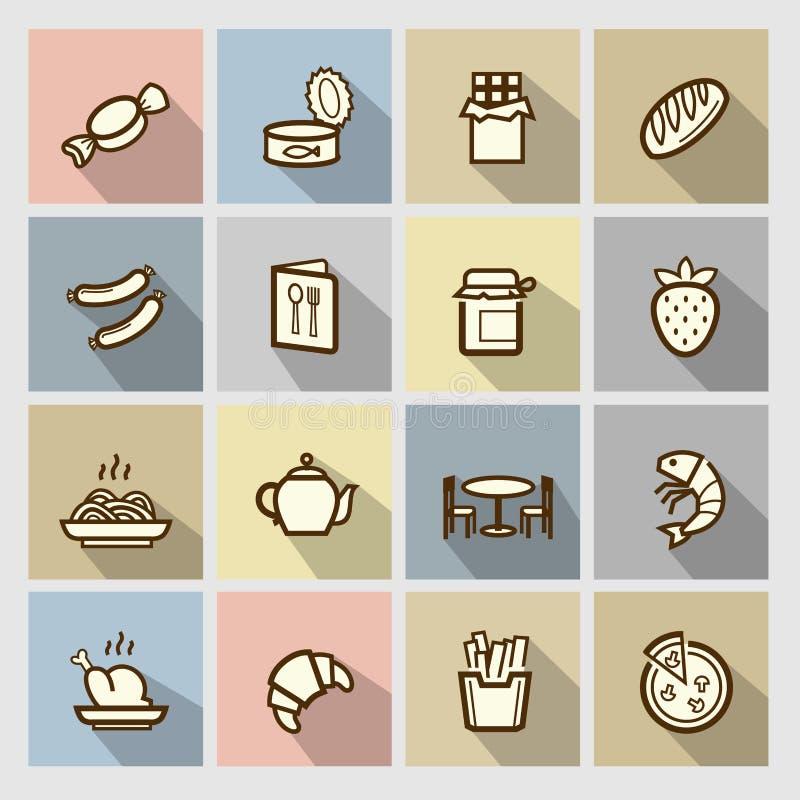 Ícones do alimento ajustados ilustração royalty free