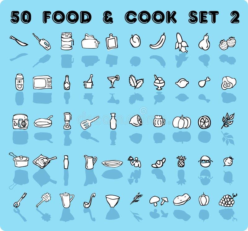 ícones do alimento & do cozinheiro de 50 vetores ilustração do vetor