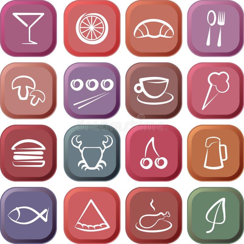 Ícones do alimento & do restaurante ilustração royalty free