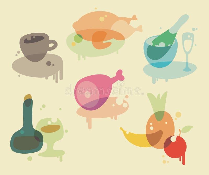 Ícones do alimento da aguarela ilustração do vetor