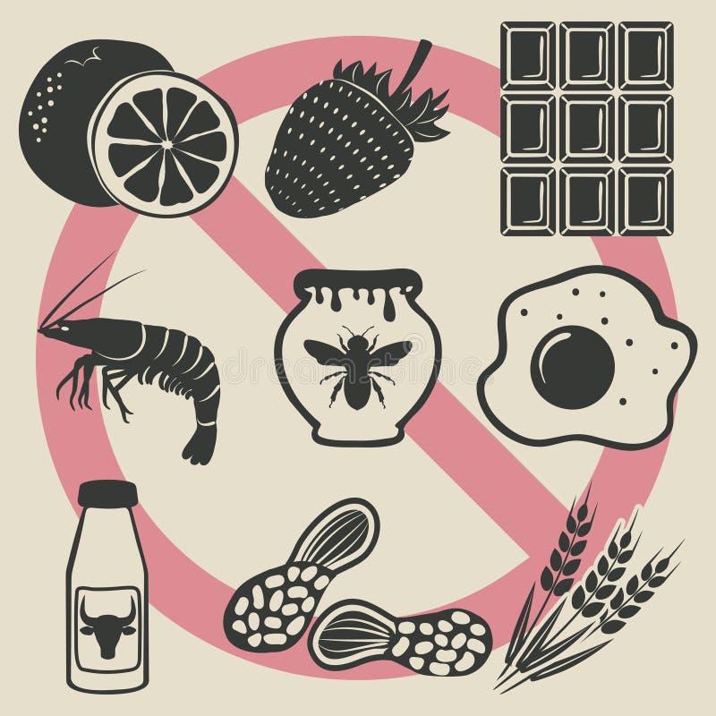 Ícones do alimento da alergia ajustados ilustração do vetor