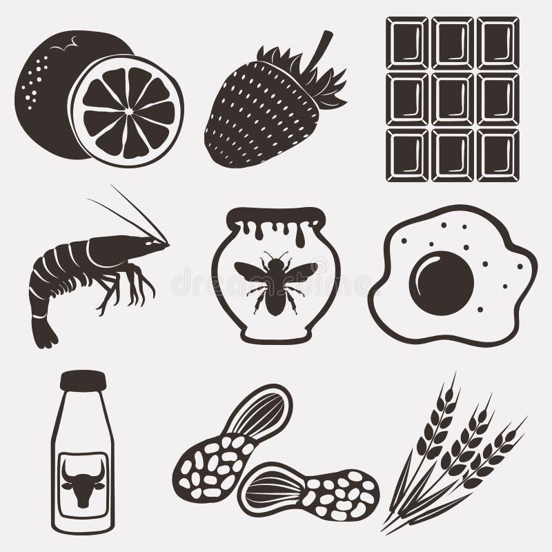Ícones do alimento da alergia ajustados ilustração royalty free