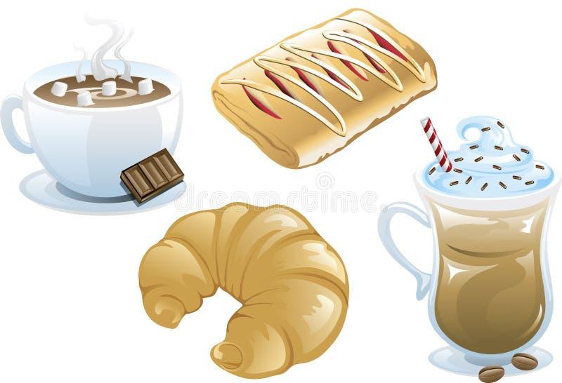 Ícones do alimento do café ilustração stock