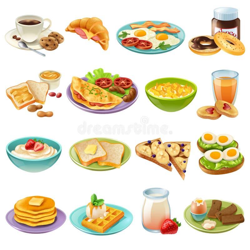 Ícones do alimento do menu da refeição matinal do café da manhã ajustados ilustração royalty free