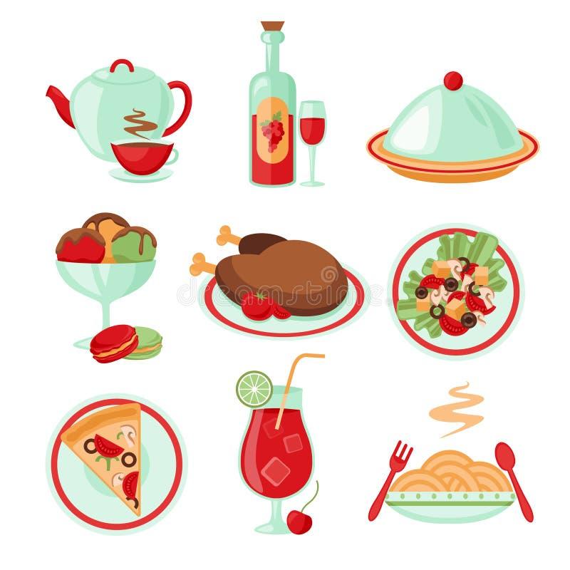 Ícones do alimento do restaurante ilustração do vetor
