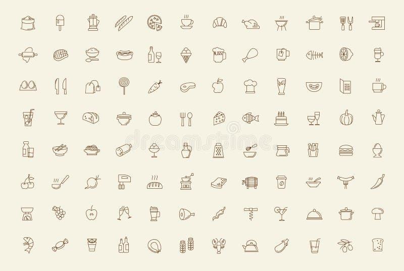 Ícones do alimento do vetor ajustados ilustração stock