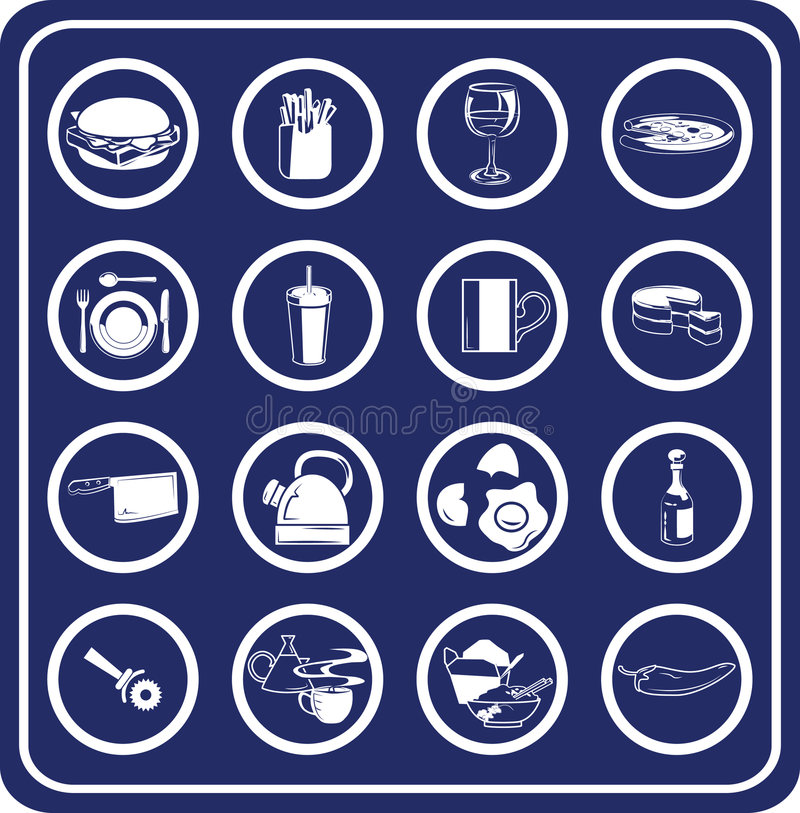 Ícones do alimento e da bebida ilustração do vetor