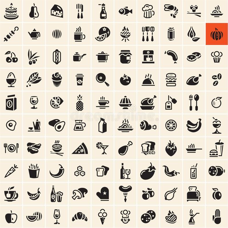 Ícones do alimento Ícones do alimento e da bebida ajustados ilustração do vetor