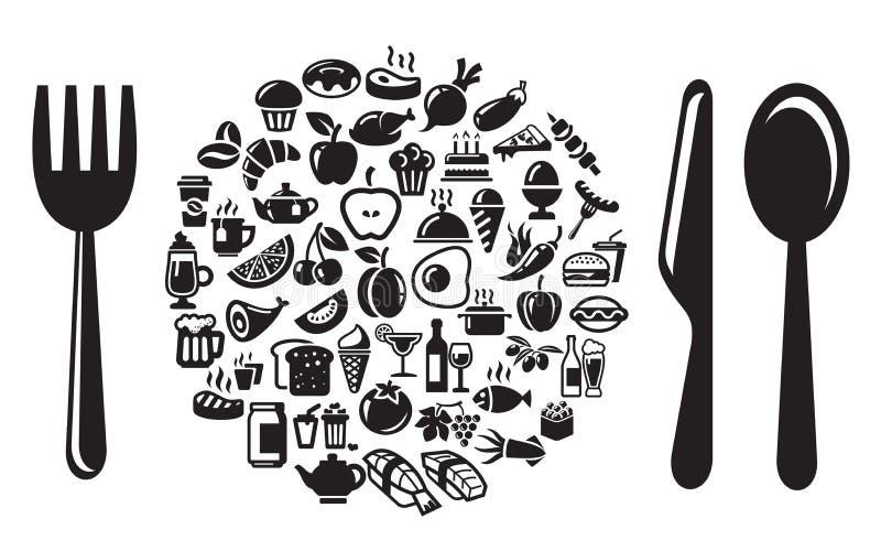 Ícones do alimento e da bebida ajustados ilustração royalty free