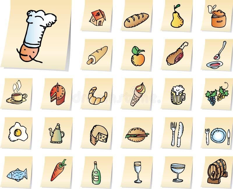 Ícones do alimento e do restaurante ilustração do vetor