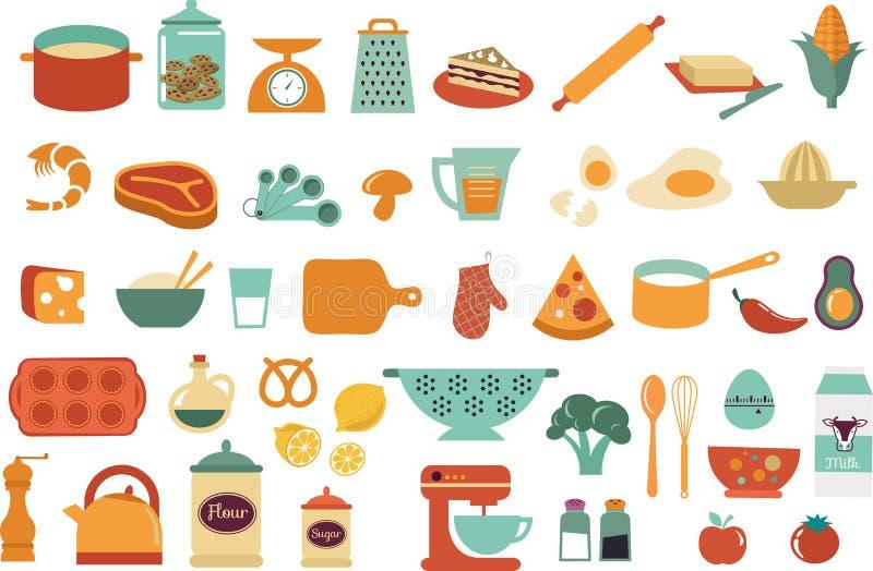 Ícones do alimento e ilustrações - coleção do vetor ilustração do vetor