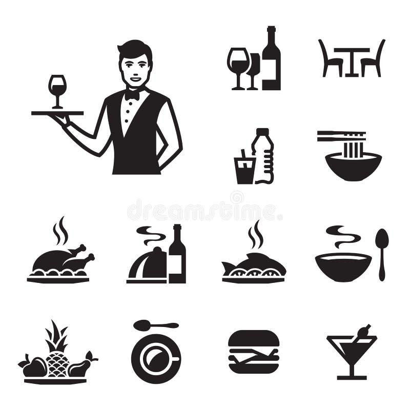 Ícones do alimento do restaurante ajustados com um garçom ilustração do vetor