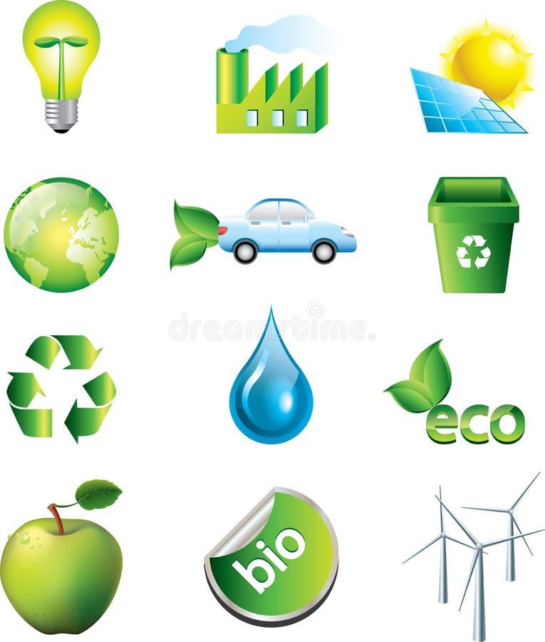 Ícones do ambiente ajustados ilustração do vetor