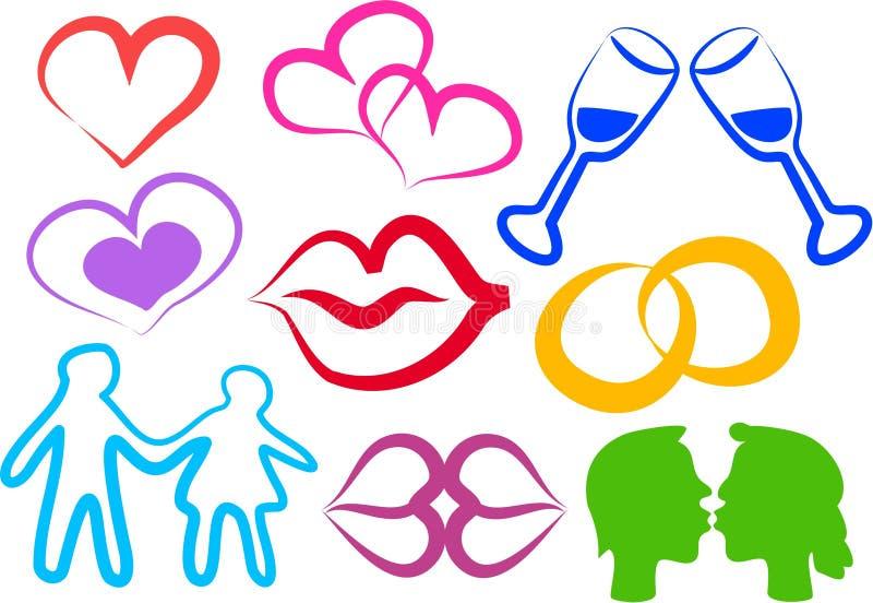 Ícones do amor ilustração royalty free