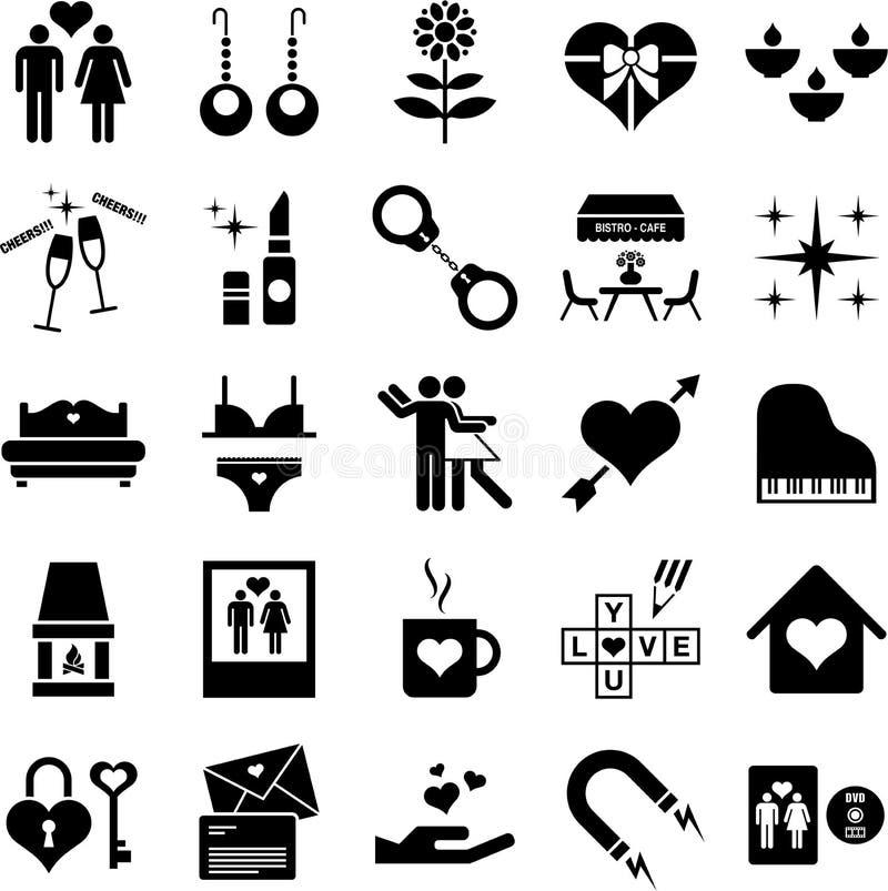 Ícones do amor ilustração do vetor