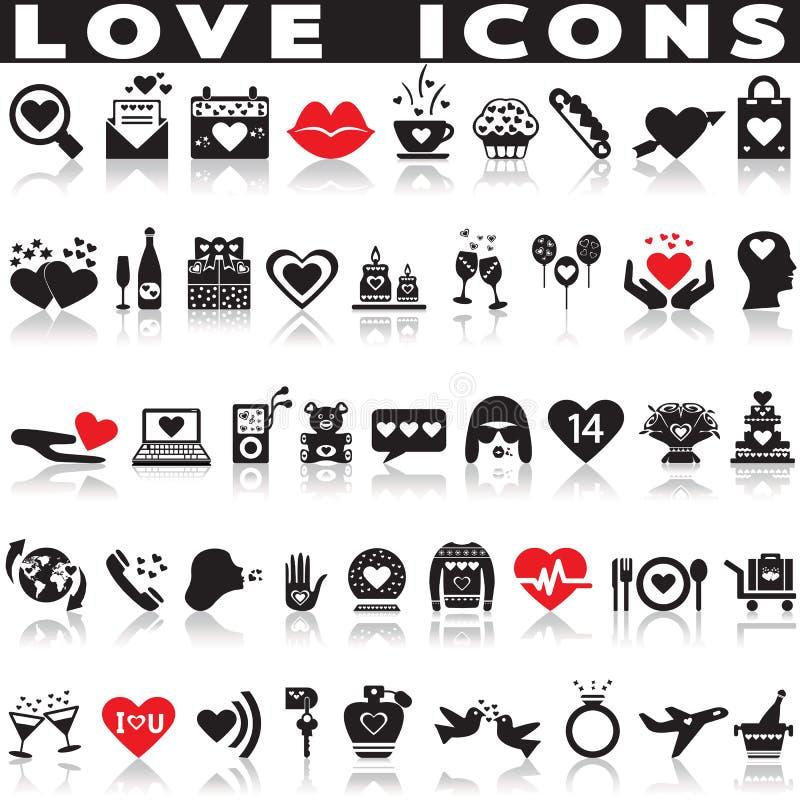 Ícones do amor ajustados ilustração do vetor