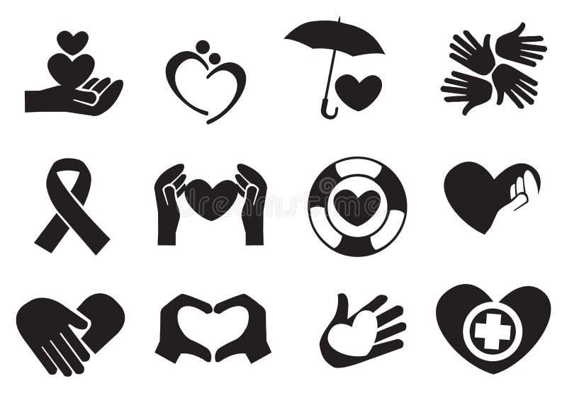 Ícones do amor e do cuidado ilustração do vetor