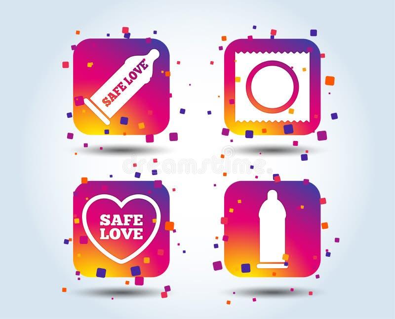 Ícones do amor do sexo seguro Preservativo em símbolos do pacote ilustração royalty free