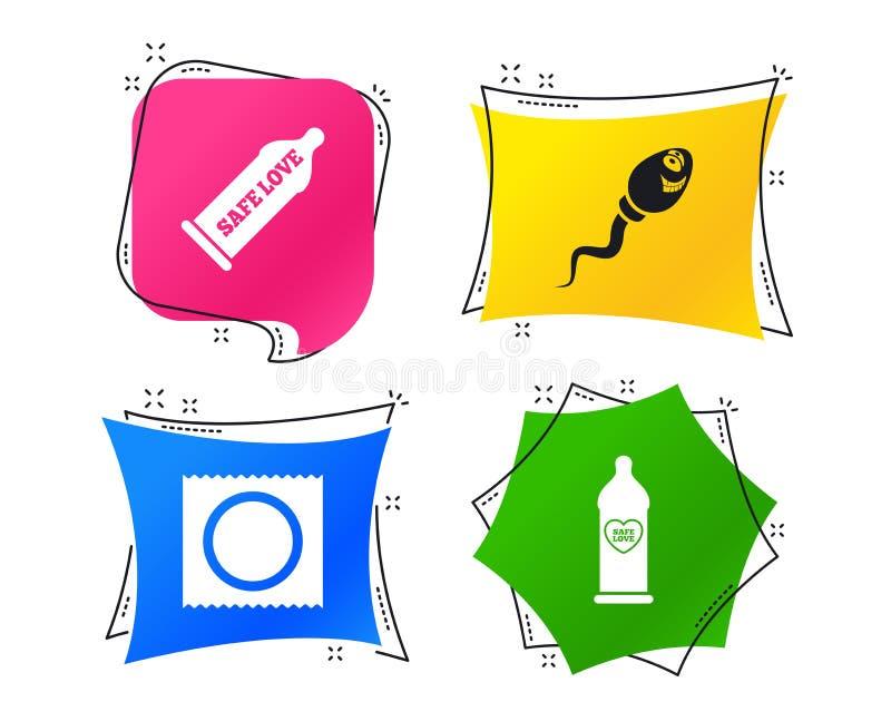 Ícones do amor do sexo seguro Preservativo em símbolos do pacote Vetor ilustração do vetor