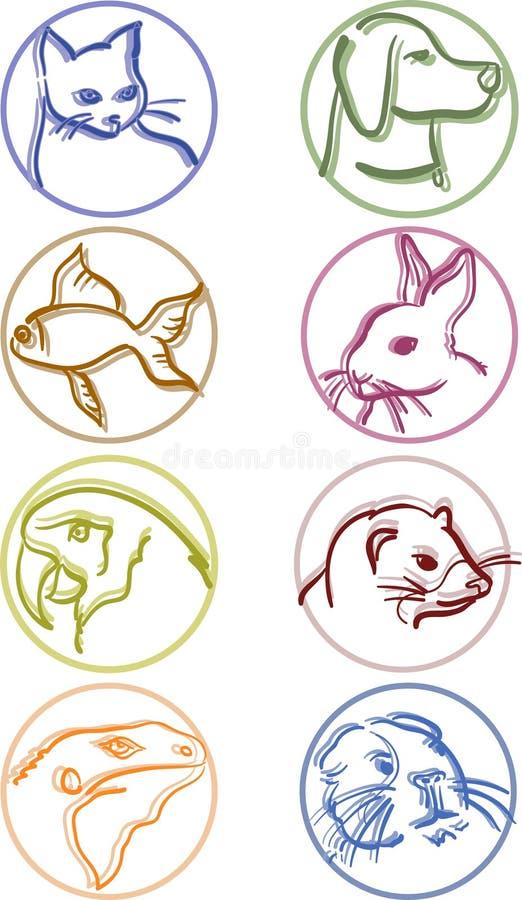 Ícones do animal de estimação fotos de stock