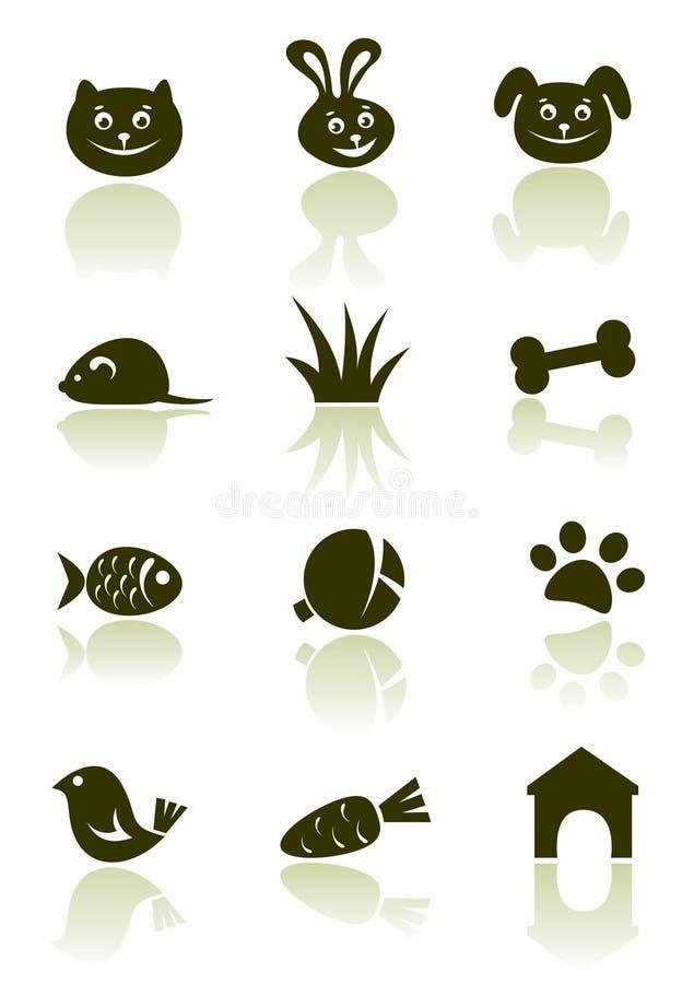 Ícones do animal de estimação ajustados ilustração royalty free