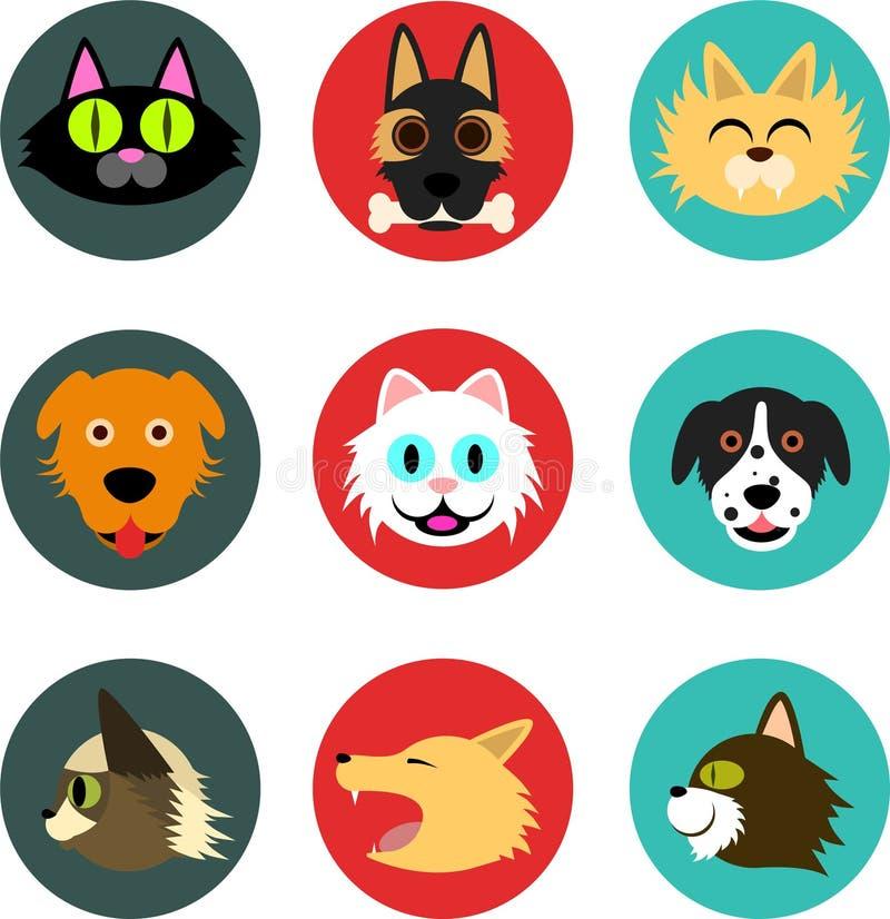 Ícones do animal de estimação (cães e gato) ilustração do vetor