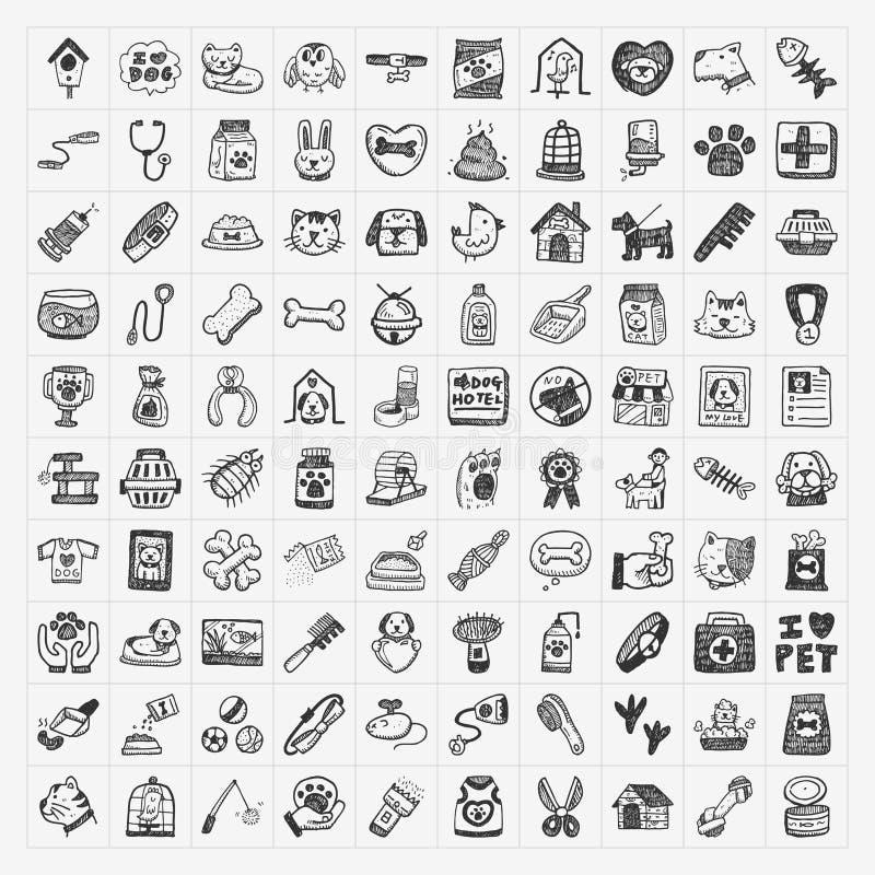 Ícones do animal de estimação da garatuja ajustados ilustração stock