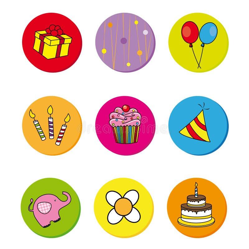 Ícones do aniversário ilustração do vetor